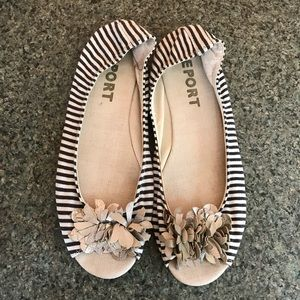 Navy&White Stripe Report Flats size 11